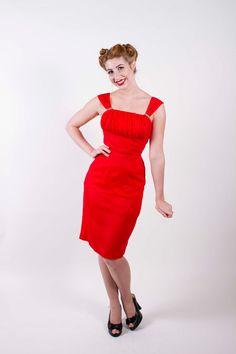 50s Vintage Dress Bright Red Chiffon Shelf Bust by stutterinmama, $124.00
