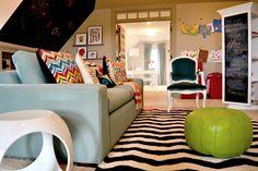 Kid's playroom- custom turning shelves for storage/ play