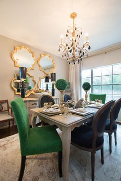 Amanda Carol Interiors Emerald Green, gold mirrors, weathered wood dining table, Restoration Hardware Stone paint color