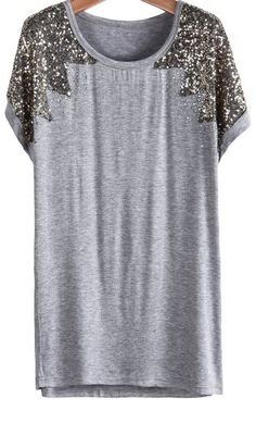 Sequined Loose Grey T-Shirt at Romwe - Trendslove