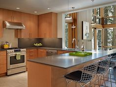 Dark countertop?  We will have the birch cabinets, but will have a darker floor.    Sophisticated, Clean, Stylish, good look for combining birch-toned cabinets with stainless...