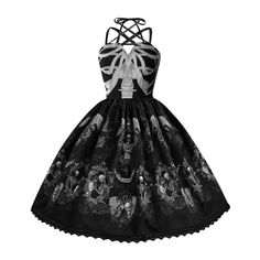 Skull Print For Women Punk Style Strap Big Swing Dress – Everything Skull Clothing Merchandise and Accessories Jupe Swing, Swing Skirt, Gothic Rock, Pin Up, Party Dresses For Women, Summer Dresses, Mode Punk, Swing Rock, Streetwear