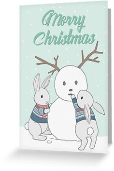 Little bunnies with Norwegian sweaters building a snowbunny • Also buy this artwork on stationery, apparel, kids clothes, and more.