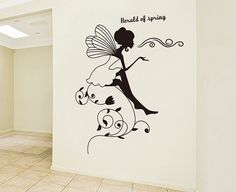Sitting on a flower fairy Wall Decal - Fairy sticker - Fairy decor - Fairy decal - Vinyl Wall Stickers Art Graphics, Removable 73