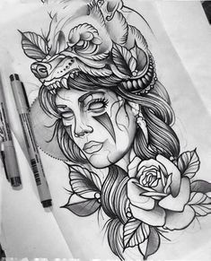 new Ideas for neo traditional tattoo design indian La Muerte Tattoo, Catrina Tattoo, Neue Tattoos, Body Art Tattoos, Sleeve Tattoos, Hand Tattoos, New Traditional Tattoo, Neo Traditional Art, American Traditional