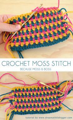 Moss is Boss. Learn the moss crochet stitch! If you can single crochet you can do it! Tutorial ✿Teresa Restegui http://www.pinterest.com/teretegui/✿ #crochetstitches