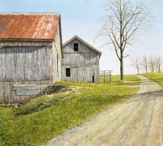 """Old Barn"" by Mark Meunier, Original egg tempera available at the R. Michelson Galleries or at rmichelson.com"