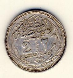 Egypt 1917 Silver 2 Piastres AU+