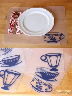 plastic placemats decorated with vinyl and transfer paper ... dollar store plastic cutting mats, a piece of vinyl - or peel and stick rolls at dollar store .. cut out pattern of choice ... directions on blog - great for using on picnic tables at camp spots without feeling like you're eating dirt  madiganmade.com