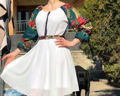 Rochie stilizata cu motive florale - Viorela| Rochie Traditionala alb #ietraditionala #national #rochie #romania #traditional