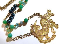 Unicorn Necklace With Teal Blue Glass Pearl by MURPHYSTREASURES2