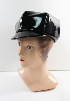 #1960s #Vintage Newsboy Hat Black #PatentLeather Cap by crackerjaxshop, $58.00