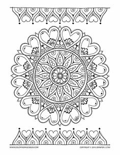 Coloring pages for adults and grown ups. Mandala with Hearts Valentines Coloring… Blank Coloring Pages, Detailed Coloring Pages, Valentine Coloring Pages, Cool Coloring Pages, Mandala Coloring Pages, Printable Coloring Pages, Coloring For Kids, Coloring Books, Mandala Pattern