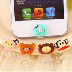 Black Friday Sale 2014 Home Cute Animal Data Jack Anti Dust Plug + Home Button Sticker for Iphone 5 / Iphone 5s Apple 5c / Ipad4 / Ipad Mini (5 Stickers in 1)