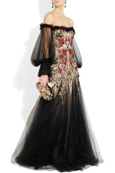 Alexander McQueen|Embroidered silk-tulle off-the-shoulder gown|NET-A-PORTER.COM