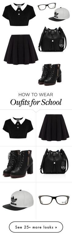 """Back to school"" by maryanndash on Polyvore featuring Polo Ralph Lauren, MICHAEL Michael Kors, Ray-Ban and adidas"