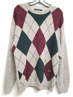 Tommy Hilfiger VTG Sweater Mens L Gray Beige Green Burgundy Cotton Argyle Crest | Clothing, Shoes & Accessories, Men's Clothing, Sweaters | eBay!