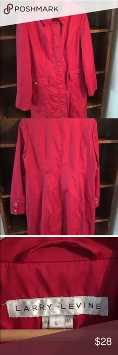 Larry Levine cherry red trench coat Awesome piece! The color and fit are wonderful. Zipper and snap closure. Pristine condition. Bundle for more discounts 😊👍🏻🎉 Larry Levine Jackets & Coats Trench Coats