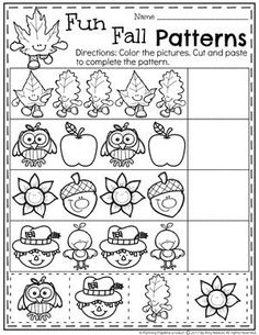 Fun Fall Patterns Worksheet for Preschool.