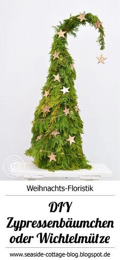 DIY natürliche Weihnachtsdeko selbermachen   Wichtelbäumchen aus Lebensbaum  www.seaside-cottage-blog.blogspot.de