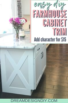 f you are looking to add some farmhouse charm to your kitchen then this budget-friendly Farmhouse Cabinet Trim will work perfect! It only costs around $15. #diy #farmhouse #cabinettrim Farmhouse Cabinets, Farmhouse Wall Art, Farmhouse Kitchen Decor, Modern Farmhouse, Farmhouse Style, Kitchen Nook, Kitchen Ideas, Kitchen Design, Rustic Design