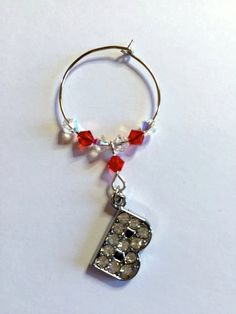 Letter 'B' Wine Glass Charm - with Swarovski Crystals - birthstone gift idea by Makewithlovecrafts on Etsy