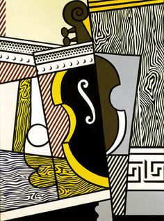 Cubist Still Life with Cello, 1974 - Roy Lichtenstein - Oil and Magna on canvas, 54 x 40 inches, x cm Roy Lichtenstein Pop Art, Industrial Paintings, Cubist Art, Pop Art Movement, Composition Art, Funky Art, Art Challenge, Art Studies, Cello