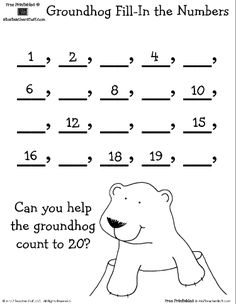 The 71 best groundhogs day preschool theme images on pinterest in groundhog fill in the numbers worksheet can you help the groundhog count ibookread Download