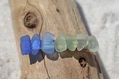 Brilliant blue, aqua, sea foam and green sea glass in a rainbow on a French barrette. The aqua, blue and shades of green beach sea glass…