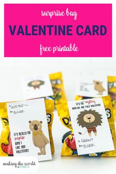Do your kids love blind bags? These little surprise bag Valentine cards are perfect to add to any mystery toy, just staple and go! Diy Valentines Cards, Valentine Day Crafts, Valentine Decorations, Be My Valentine, Teacher Cards, Free Printable Gift Tags, Candy Cards, Valentine's Day Diy, Love Cards