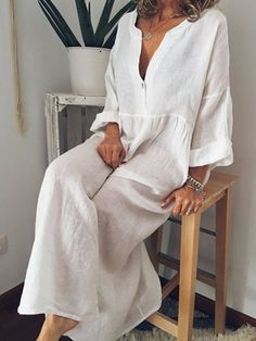 Casual Loose Solid Linen V Neck Long Sleeve Maxi Dresses Long Sleeve Maxi, Maxi Dress With Sleeves, Plain Dress, Sleeved Dress, Plus Size Maxi Dresses, Casual Dresses, Dresses Elegant, Fall Dresses, Casual Outfits