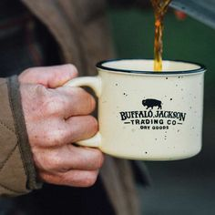 Buffalo Jackson Camp Mug. The look of a tin camping mug, but made of quality stoneware. It's my husband's favorite mug. I'm getting one for myself this time!