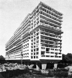 Le Corbusier's Unité d'Habitation under construction: From A Brief, Wondrous History of Brutalism