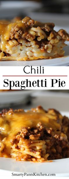 """Chili Spaghetti Pie is a casserole and the pasta serves as the """"crust."""" Easy to make and great for large groups! Also, a great way to serve leftover chili! Chili Spaghetti, Spaghetti Pie, Spaghetti Recipes, Pasta Recipes, Beef Recipes, Cooking Recipes, Leftover Spaghetti, Cooking Rice, Drink Recipes"""