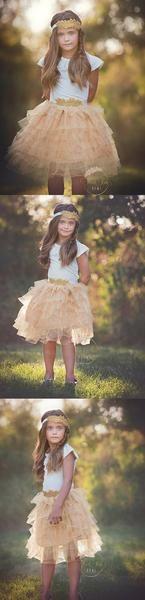 Golden Sunrise Tiered Tulle Skirt - Think Pink Bows - 2 Pretty Flower Girl Dresses, Flower Girl Dresses Country, Flower Girl Tutu, Lace Flower Girls, Girls Dresses, Tulle Skirt Kids, Tulle Dress, Vintage Kids Fashion, Vintage Inspired Dresses