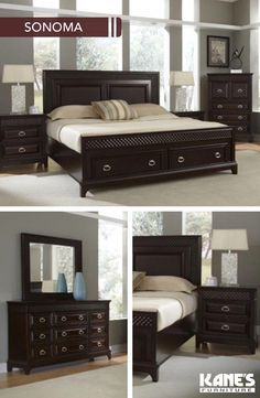 Sonoma King Storage Bedroom Sleep comes so much easier on the Sonoma Both functi. Sonoma King Storage Bedroom Sleep comes so much easier on the Sonoma Both functional and beautiful Wood Bed Design, Bedroom Bed Design, Bedroom Decor, White Bedroom Set, Bedroom Sets, Bed Storage, Bedroom Storage, Wood Bedroom Furniture, Cheap Furniture