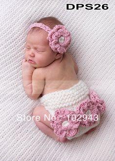 Pas cher Wow 1 pcs détail bébé Crochet Cotton Diaper Cover avec bandeau assortis…