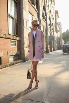 Vest: Marissa Webb. Shirtdress: BCBG . Shoes: Stuart Weitzman. Bag: Valentino  Nails: Deborah Lippmann 'Amazing Grace'. Sunglasses: Valentino. Jewelry: David Yurman, Rolex, Cartier, BaubleBar.