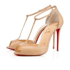 """No shoe is more flirtatious than the open toe T-bar court shoe. Monsieur Louboutin puts his signature on the classic silhouette this season with 100mm """"Senora."""" In nude no. 1, this pair is a timeless neutral."""