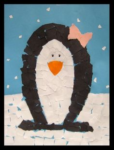Darling tear art penguin. All you need is construction paper, and a glue stick. So simple.