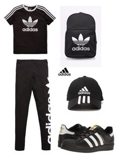 """""""Adidas black and white lovers"""" by maribeltheflower on Polyvore featuring adidas Originals and adidas"""