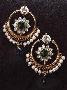 Emerald and Pearl Chand Bali