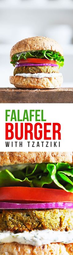 Delicious baked falafel burgers that are perfect for satisfying your veggie burger cravings. The patties are made from chickpeas, tahini, herbs and feta. Then slathered with a generous serving of tzatziki to top it all off! Gluten Free.