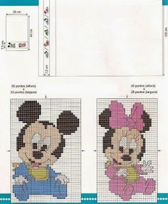 Baby Mickey and Minnie Cross Stitch For Kids, Cross Stitch Baby, Counted Cross Stitch Patterns, Cross Stitch Charts, Cross Stitch Designs, Disney Stitch, Animated Disney Characters, Disney Babys, Mickey And Friends