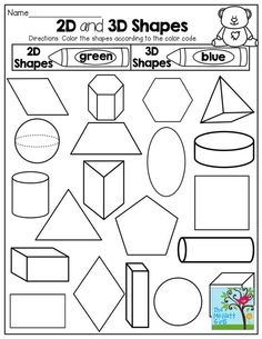 2-D and 3-D Shapes! Color by the code! Tons of fun printables!: