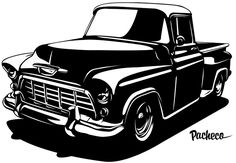Old Trucks, Chevy Trucks, Inkscape Tutorials, Gravure Laser, Drawing Machine, Silhouettes, Truck Art, Car Drawings, Monster Art