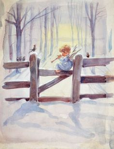 Erica Von Kager Watercolor Painting The Littlest Angel 2 Christmas Scenes, Christmas Pictures, Christmas Angels, Christmas Art, Tree Illustration, Christmas Illustration, Angel Pictures, Christmas Paintings, Angel Art