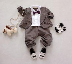 2016 New Baby formais ternos 2 pcs arco laço Outfits + calças listradas infantil Set roupas senhores recém nascido meninos da festa de casamento terno em Conjuntos de Mamãe e Bebê no AliExpress.com | Alibaba Group