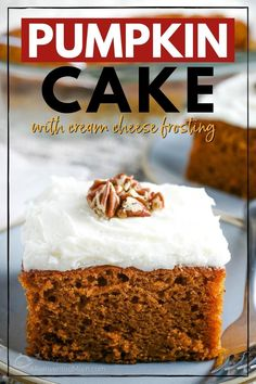 This easy pumpkin cake recipe is moist and delicious. But nothing beats the homemade cream cheese frosting. This from scratch recipe is simple and perfect for the Fall and upcoming holidays. The pumpkin spice gives this 1 layer cake a burst of flavor. Cake With Cream Cheese, Cream Cheese Frosting, Easy Desserts, Dessert Recipes, Pumpkin Cake Recipes, Holiday Cakes, Eat Dessert First, Frosting Recipes, Pumpkin Spice