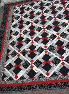 Gorgeous Black white and red custom made Queen size quilt